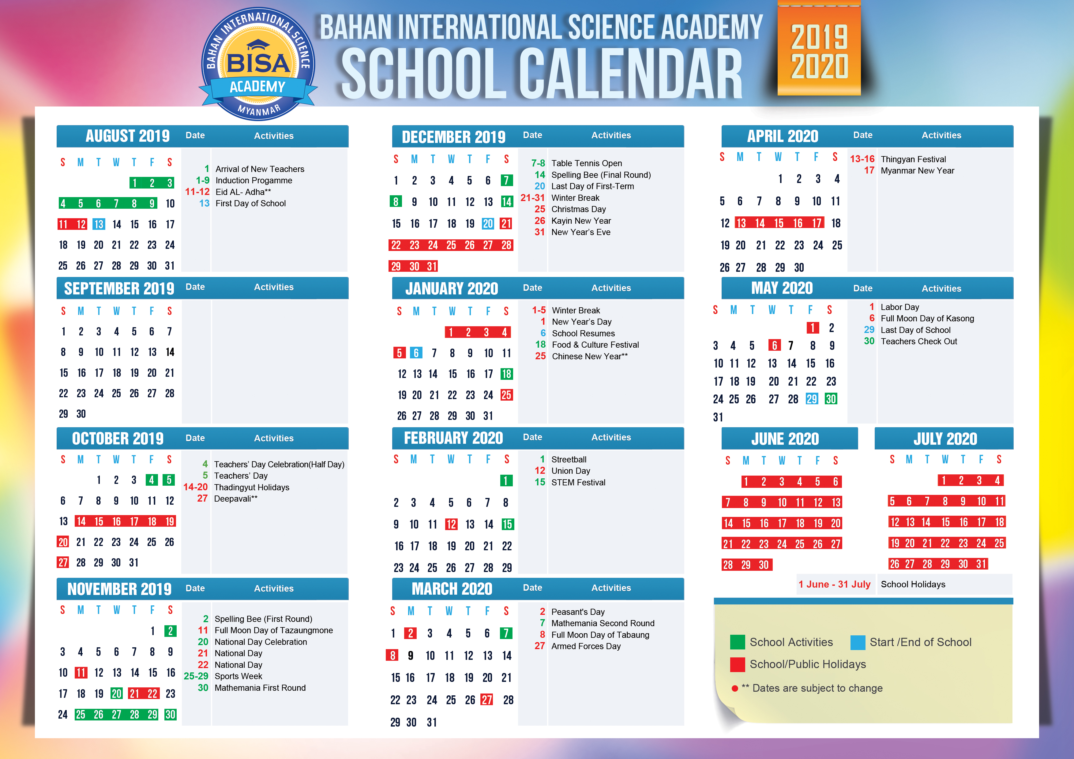 Bahan International Science Academy: School Calendar